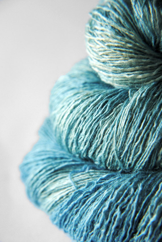 RESERVED for Yen - Chilly sea breeze - Tussah Silk Yarn Lace weight