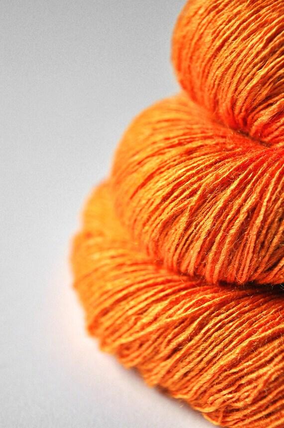 Burning orange (solid version) OOAK - Tussah Silk Yarn Lace weight