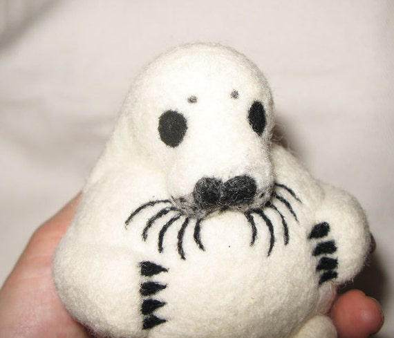 Harp Seal Baby, nature inspired needle felted wool rattle ball