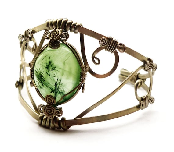Wire Wrap Green Cuff Bracelet with Prehnite stone