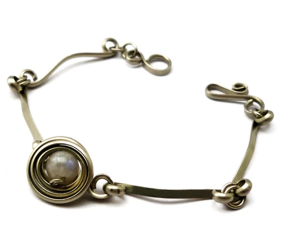 Wire Wrap Metal Bracelet with Moonstone