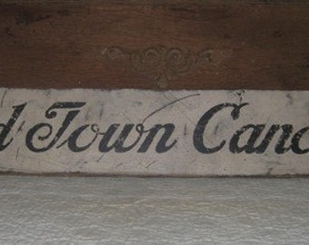 Primitive Vintage Wood Sign - OLD TOWN CANOES - Several Colors Available