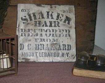 Primitive Vintage Wood Sign - Shaker Hair Restorer