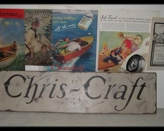 Vintage Chris Craft Boats Trade Sign - Several Colors Available