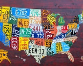 """Large License Plate Map of the United States 48"""" x 32"""" USA"""