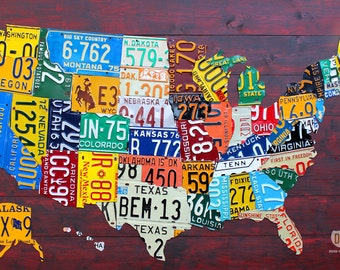 "Large License Plate Map of the United States 48"" x 32"" USA"