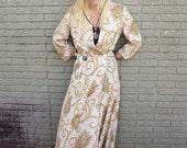1940s Rayon Robe Wrap Dress SUPER RARE PRINT Old Hollywood Regency