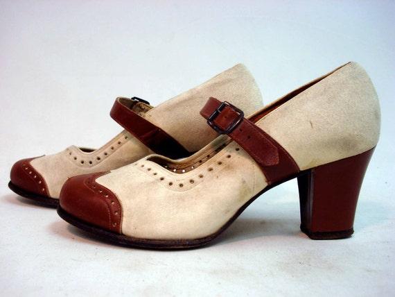 1940s Espresso Brown Leather & Ivory Suede CAFE Au LAIT  Spectator Walking Shoes Sz 5 - 5.5