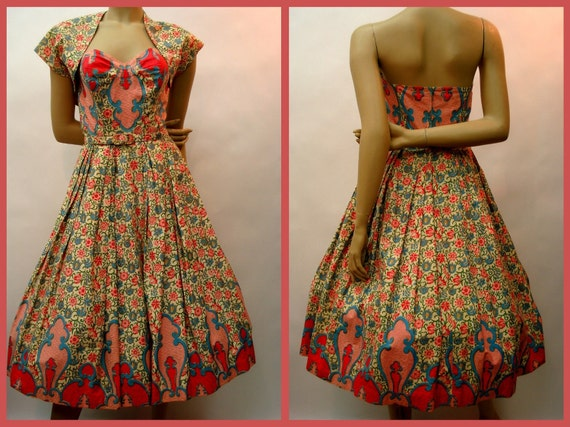 RESERVED for Karia 1950s Formal Full Sweep Strapless Dress w Bolero ROYAL HAWAIIAN Couture Tiana Pitelle