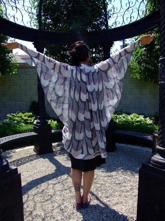 1980s Does 20s Designer DECO DIVINE Shawl Cape Batwing // By Mara Hoffman