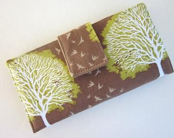 Handmade women wallet brown green white oak tree - Custom wallet - bifold wallet - clutch vegan