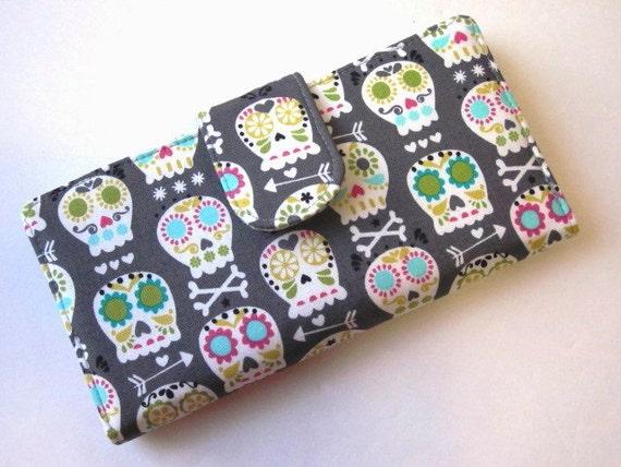 Handmade women's wallet Bone head Skulls - custom order - small skulls - gift for her