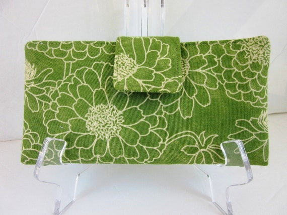 On Sale Handmade women long bifold wallet Green zinnia floral and bamboo with ID clear pocket