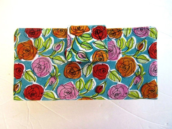 On Sale Handmade women wallet small flowers orange red pink over teal