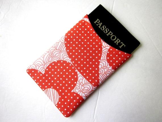 Handmade Passport sleeve cover Orange flower white dots