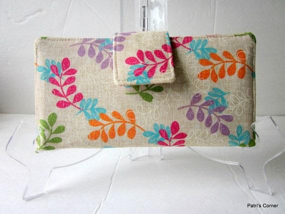 Handmade women wallet natural cream leaves in bright fresh colors, vegan