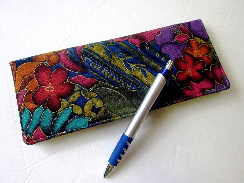 Business Checkbook Covers : Handmade business checkbook cover exotic flower women s