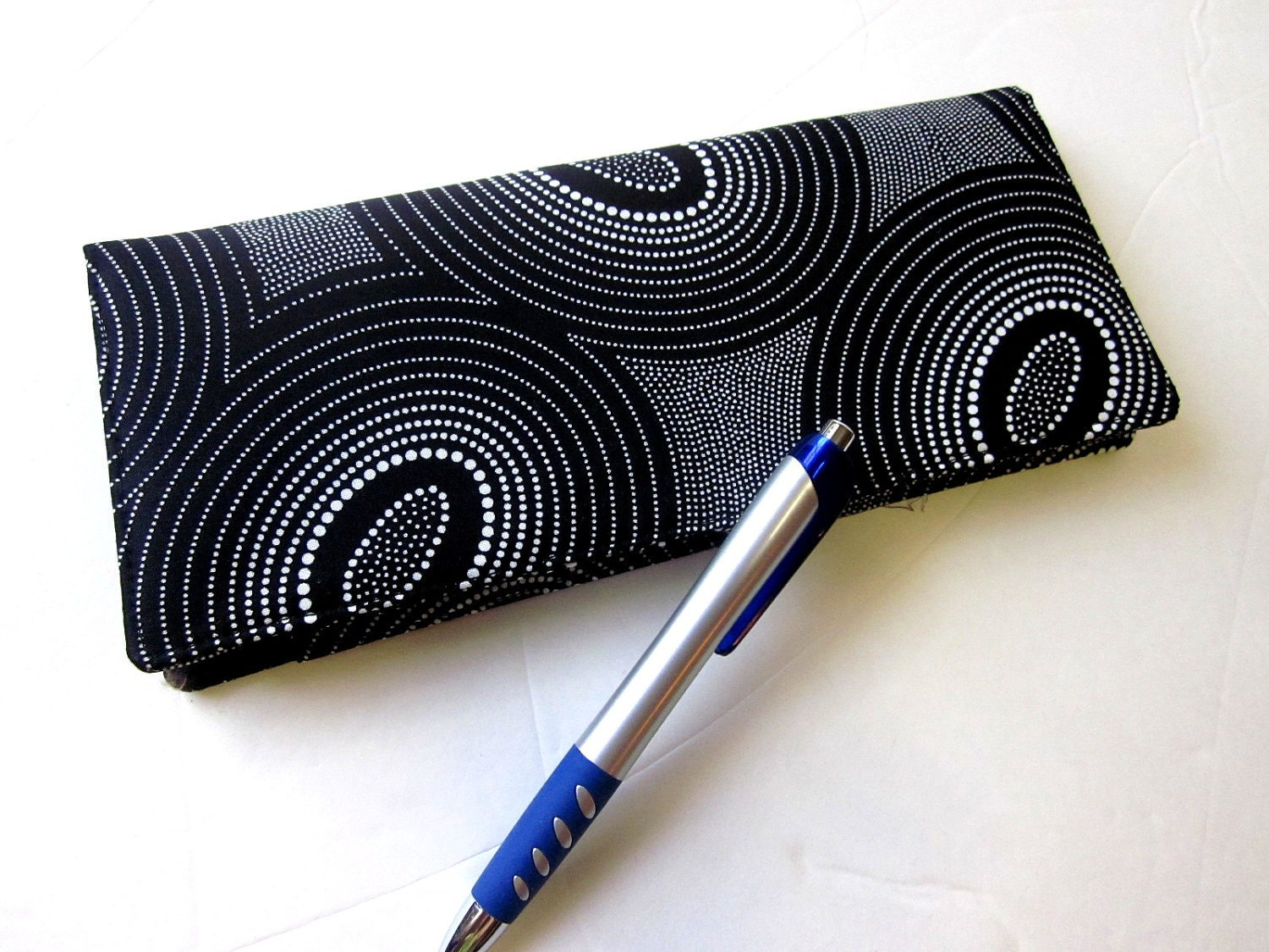 Business Cheque Book Covers : Handmade business checkbook cover black with dots and circles