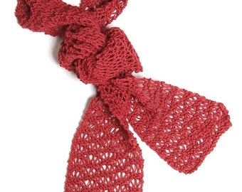 PDF Pattern for Knitted Skinny Cotton Scarf - Instant Download