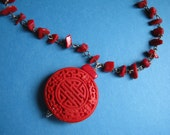 Red Coral Necklace, Cinnabar Pendant, Hand Wired Necklace - HALF PRICE SALE - A Trip to the Orient