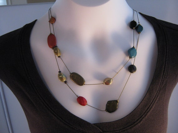 Mixed Media - Vintage Double Strand Earth Toned Necklace