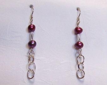 Black Cherries on Silver  Earrings    52