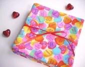 VALENTINE CANDY Coasters, Valentine's Day Decor, Candy Hearts Coasters, Retro Plaid Coasters