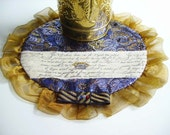 Blue and Gold Doily, Marie Antoinette Doily, Queen's Doily, French Decor, Crown and French Script