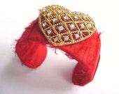 Red Gold Cuff Bracelet, Red Silk Cuff, Rhinestone Heart Bracelet, Romantic Cuff, Heart Bracelet