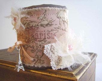 SALE Pink French Cuff, Pink Paris Cuff, Toile Cuff Bracelet, Pink and Cream Cuff, Pale Pink Cuff, Bendable Pink Cuff