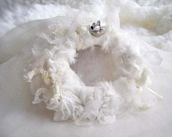 White Fiber Bracelet, White Bridal Bracelet, White Fiber Bangle, White Fur Bracelet, Wedding Bracelet
