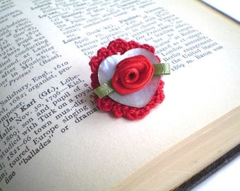 Red Rose Ring, Red Crochet Ring, Mother of Pearl Ring, Heart Ring, Size 6 Rings