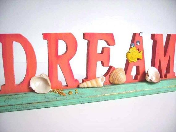 CORAL DREAM Ocean Scene - Upcycled Wood Stand-Up Word