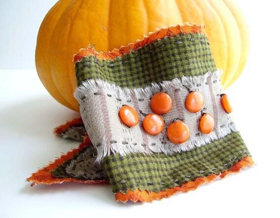 PUMPKIN PATCH CUFF, Orange Pumpkin Bracelet, Autumn Prairie Cuff, Primitive Country Bracelet, Green Orange Spice Fabric Wrist Wrap