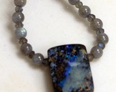 SUMMER SALE  Boulder Opal and Labradorite Necklace
