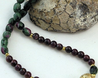 Handmade Ruby and Ruby-in-Zoisite necklace with gold vermeil focal bead