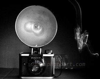 Anasco Camera,  fine art photo, camera art, memories, nostalgia, home decor, paper wall art, still life, black and white, office art,