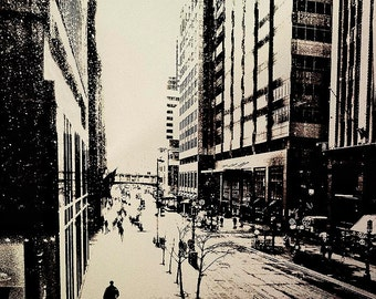 Minneapolis Shopper, winter photo, digital sepia, wall art, home decor, Minnesota art, office art, urban, sepia, office gift, contemporary,