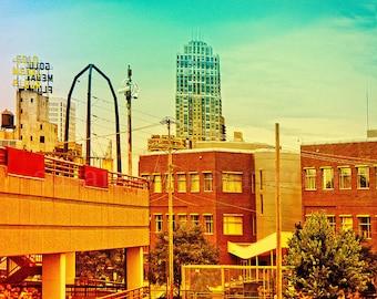 Minneapolis Mill District, digital art photo, Minnesota, Gold Medal sign, ruins, orange blue, teal, wall art, home decor, Minnesota art,