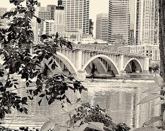 Mississippi River, Minneapolis, sepia photography, wall art, home decor, Minnesota photo, office art, black and white, urban art, cityscape