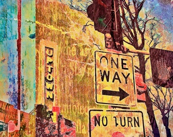 Uptown Minneapolis, contemporary, fine art photo, wall art, home decor, office art, Minneapolis art, digital collage, orange yellow, one way