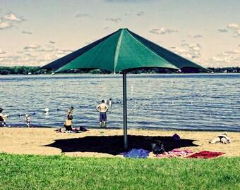 Beach Time, digital photo, wall art, water, umbrella, summer art, home decor, Minnesota art, lakes, resort, office art, playful art, midwest