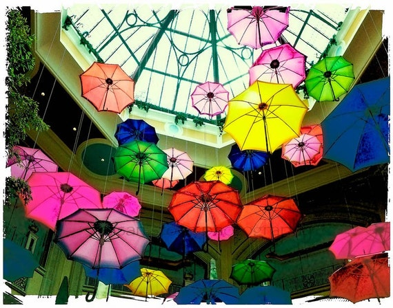 Colorful Spring Umbrellas, digital photo, office art, Las Vegas,  home decor, wall art, paper art, kitchen art, sun room art