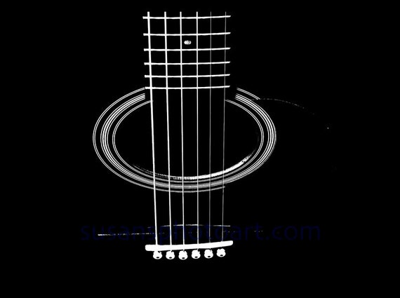 Abstract Guitar Strings, digital art,  photograph, wall art, home decor, gift music lover, guitar player, black and white, high contrast.