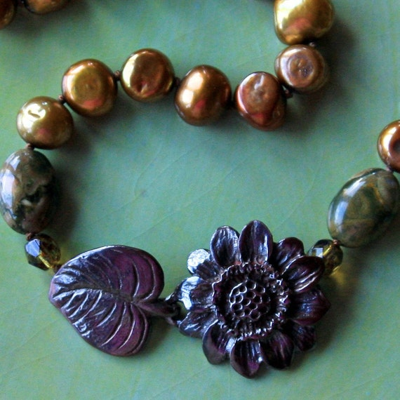 shibuichi sunflower pearl necklace. NOW 1/2 PRICE