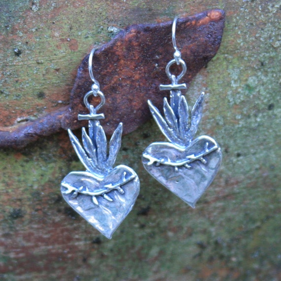 sacred flaming heart earrings....