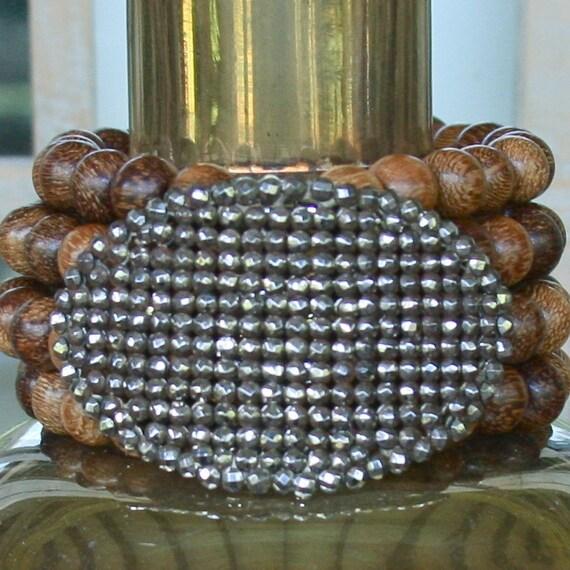 SALE - HALF PRICE...vintage french shoe buckle bracelet on brown....