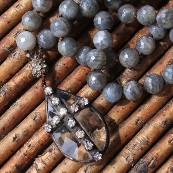 crystal tear drop with rhinestone cross long labradorite necklace...