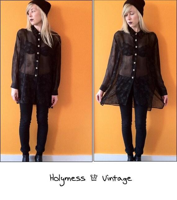 90s sheer black floral tent blouse (s/m/l)