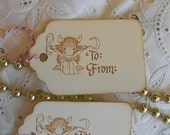 Vintage Christmas Gift Tags - House Mouse - To From